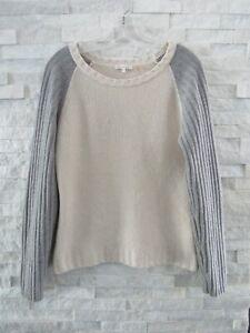 Minnie Rose Neiman Marcus Gray & Ecru Cashmere Ribbed Chain Stitch Sweater L