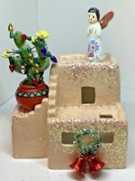 Vintage Christmas Southwestern Themed Angel Adobe Up-cycled Assemblage Decor