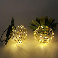 2Pack Outdoor Solar Iron Pineapple Lamp Garden Lamp Led Copper Wire Lamp String