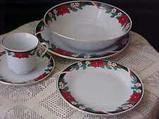 Christmas Dinnerware Tienshan Poinsettia 5Pc Serving Bowl Plate Cup Saucer Salad