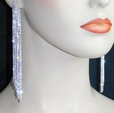 Crystal Long Chandelier Earrings /6023 Wedding Bridal Silver Clear Rhinestone