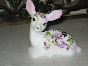 2020 FENTON GLASS HP BUTTERFLY AND BLOSSOMS ON OPAL SATIN  FAWN DEER FIGURINE LE