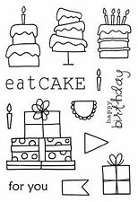 SRM Jane's Doodles Eat Cake Clear Stamp #77016 Happy Birthday Present Presents