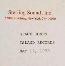 "GRACE JONES Fame *RARE 12"" STERLING SOUND ACETATE DJ PROMO TOM MOULTON Studio 54"