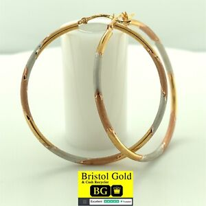 Gold On 925 Silver Medium Hoop Multi-Colour Earrings-Fully Hallmarked&FREE P&P