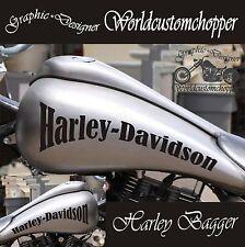 COPPIA ADESIVI STICKERS BAGGER HARLEY DAVIDSON DA SERBATOIO MOTO CUSTOM