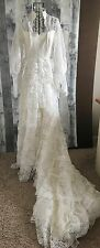 Vintage 1960s Boho Ruffled Lace Beaded Sequin Wedding Bridal Gown Dress Bling 6