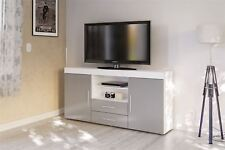 Birlea Edgeware TV Entertainment Unit Sideboard White & Grey Gloss Stand Cabinet