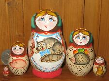 Russian NESTING dolls Matryoshka Babushka small 5 Pyrography CAT Trofimova