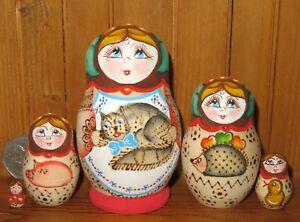 Pyrography Matryoshka & CAT Russian NESTING dolls Babushka small 5 Trofimova ART