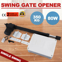 80W Single Swing Arm Gate Opener Automatic Motor Powered Remote Operator 350 KG