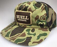 80s VTG Woodland Camouflage Mesh Trucker Hat BUELL HARDWARE Patch Snapback Cap