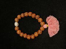 Brown Carved Wood Faux Pearl Pink Tassel Stretch Bracelet