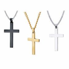Ladies / Men' Silver Cross Chain Crucifix Jesus Necklace Pendant
