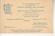 PC Size 1926 Invitation to Opening of The Nathan Hale Hotel  Willimantic CT