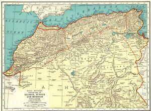 1935 Antique MOROCCO Map Vintage Map of Algeria Tunisia North Africa Map 8295