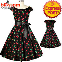 RK127 Cherry Print 50's Rockabilly Swing Evening Pin Up Prom Retro Party Dress