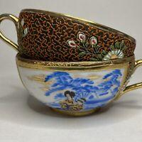 Pair Vintage Satsuma Hand Painted Tea Cups Raised Gold Moriage Lithopane Geisha