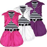 GIRLS SLEEVELESS BELTED DRESS DIAMANTE APPLE DESIGN & JACKET PUFFY SKIRT 3-12 Y