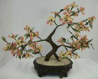 Vintage Asian Oriental Pink Flowering Glass Bonsai Tree in Planter