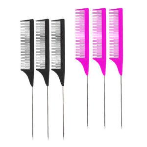 6pc Salon Metal Pin Rat Tail Comb for Hair Cutting Styling Teasing Highlighting