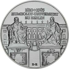 DDR 10 mark plata 1985 sello brillo Universidad Humboldt Berlín en münzkapsel