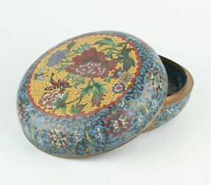 Antique Chinese Cloisonne Box with Flowers