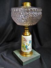 ANTIQUE c.1875 OIL LAMP-EAPG FONT-PORCELAIN STEM w BEAUTIFUL HAND PAINTED FLORA