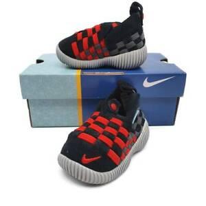 Nike Little Weave Walker Shoes Baby 2 C Black Red Slip On  New