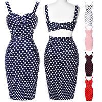 BP Women Backless Vintage Bodycon Dress Cotton Polka Dots Party Picnic Dresses