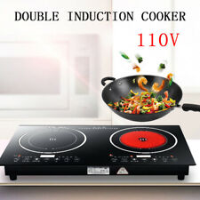2.2W Electric Rapid Heating Induction Cooktop Dual Stove Countertop Burner 110V