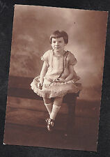 Vintage Antique Photograph Adorable Little Girl Sitting on Bench in Pretty Dress