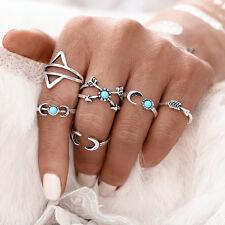 Vintage Bohemian Stackable Ethnic Style Silver Ring Thumb 6 Pcs Set Moon Arrow