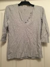 GAP A16 100% Cotton Solid Gray 3/4 Sleeve Top Size M