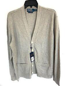 Men's Polo Ralph Lauren Light Weight Gray Cardigan White Buttons Cotton Large