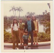 Square Vintage 70s PHOTO Little Young Boys & Girls At Park w/ Lake