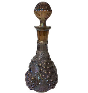 Imperial Grape Carnival Glass Decanter and Stopper Flat Base Smoky Color