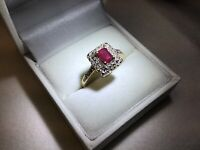 14K Yellow Gold Ruby Ring Sizable Size 9 4x6mm Diamond Halo Approx. 3.9g