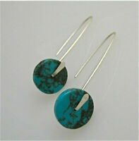 Vintage 925 Plated Silver Turquoise Ear Stud Wedding Bridal Jewelry Earring Gift