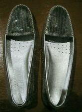 ORIGINAL CAR SHOE BY PRADA SEQUIN LOAFERS-SILVER, SIZE 39