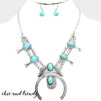 SQUASH BLOSSOM HORN WESTERN TURQUOISE STONE CHUNKY NECKLACE FASHION JEWELRY SET