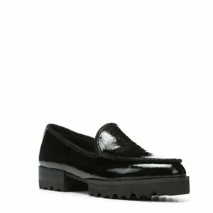 Donald J Pliner Elen Women Slip On Lug Sole Loafers Black Crinkle Patent Leather