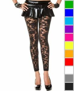 New Music Legs 35344 Woven Floral Design Sheer Spandex Leggings
