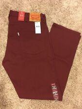 NWT Mens Levi's 513 jeans Slim Straight Maroon w/stretch 38x32 #08513-0701