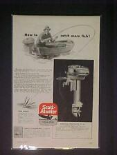 RARE ~SCOTT-ATWATER FISHING BOAT OUTBOARD MOTOR ART PRINT AD~ ORIG ANTIQUE 1947