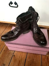 Ladies Hudson Brown Leather Lace Up Boots UK 5 EU 38 Military Style