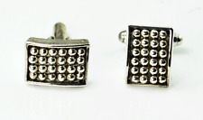 Sergio Bustamante Sterling Silver Rectangle Dot Cufflinks 17mm
