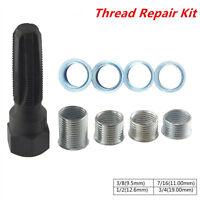14MM Spark Plug Rethread Tool 4 Inserts Thread Insert Reamer Tap Repair Kit Tool
