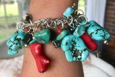 104g SOUTHWESTERN STERLING SILVER CHARM BRACELET LARGE CHUNKY TURQUOISE & CORAL