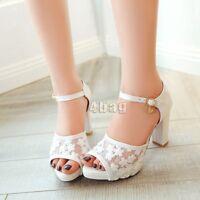 Sweet Womens Block High Heels Strappy Sandals Peep Toe Ladies Pumps Shoe UK Size